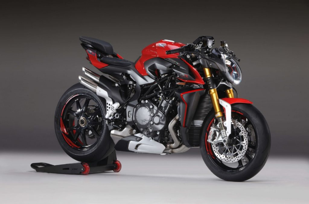 A red-and-black 2020 MV Agusta Brutale 1000 RR on a rear-wheel stand