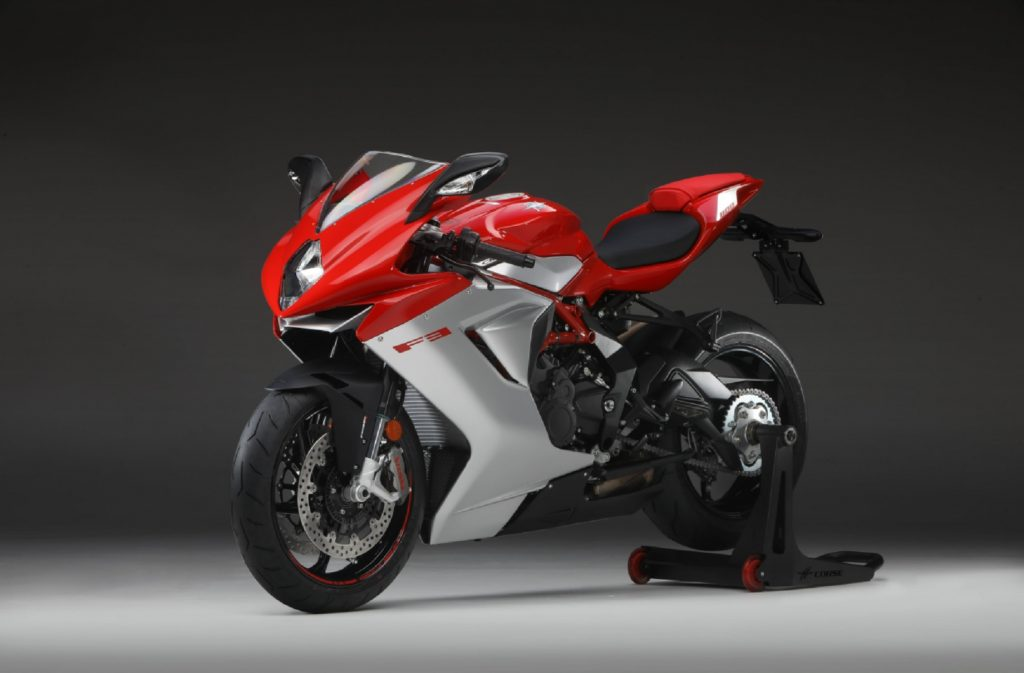 A red-and-white 2020 MV Agusta F3 800 on a rear wheel stand