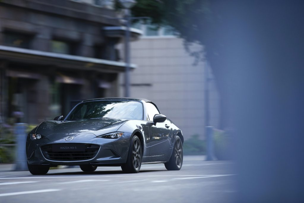 2020 Mazda Mx-5 Miata driving around downtown