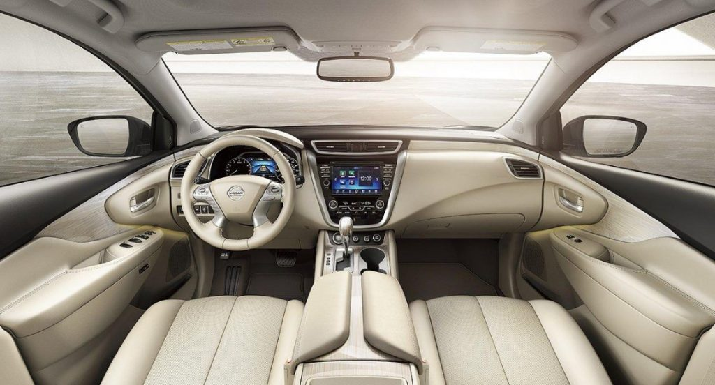 A 2020 Murano with beige leather seats.
