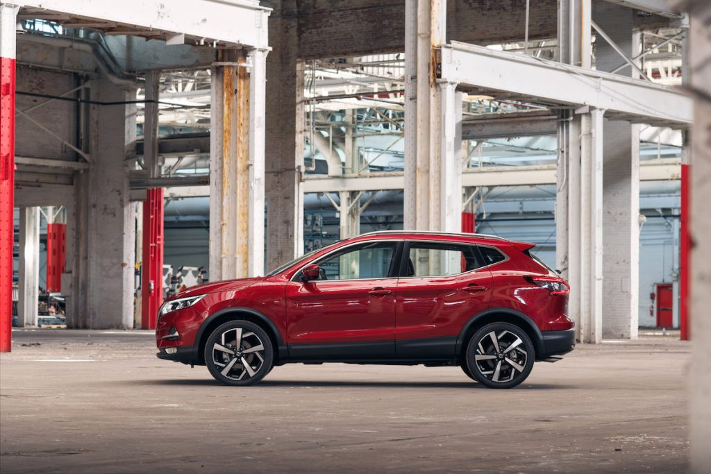 2020 Nissan Rogue Sport inside of an industrial complex with steel beams