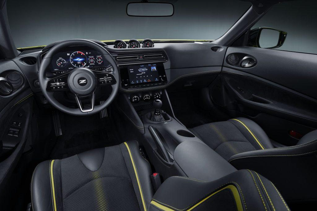 The yellow-striped 2020 Nissan Z Proto Concept interior
