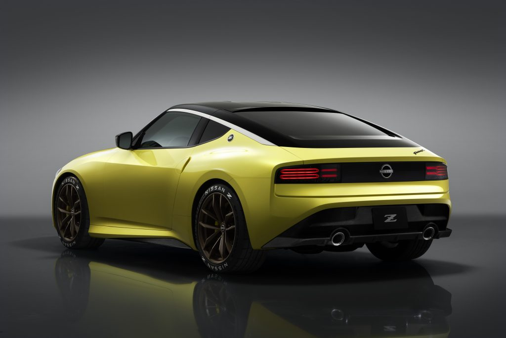 The rear 3/4 view of the yellow 2020 Nissan Z Proto Concept