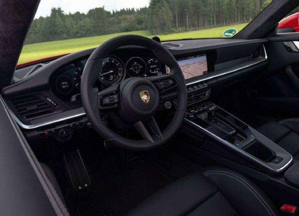 The interior of a 2020 Porsche 911 Carrera equipped with the Sport Chrono Package