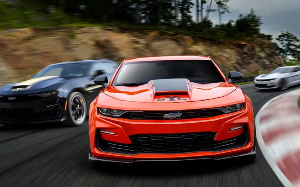 Several 2020 SVE Chevrolet Yenko/SC Camaro Stage I racing around a track. This is the second most unreliable car of the year according to consumer reports