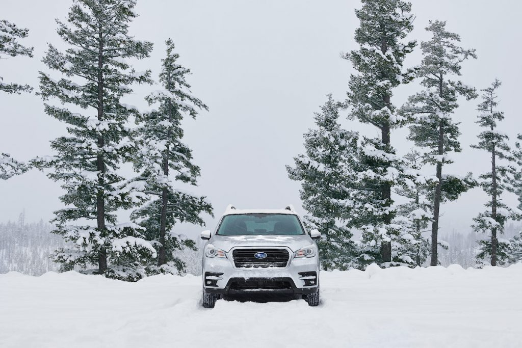 2020 Subaru Ascent Limited in a snowy forest