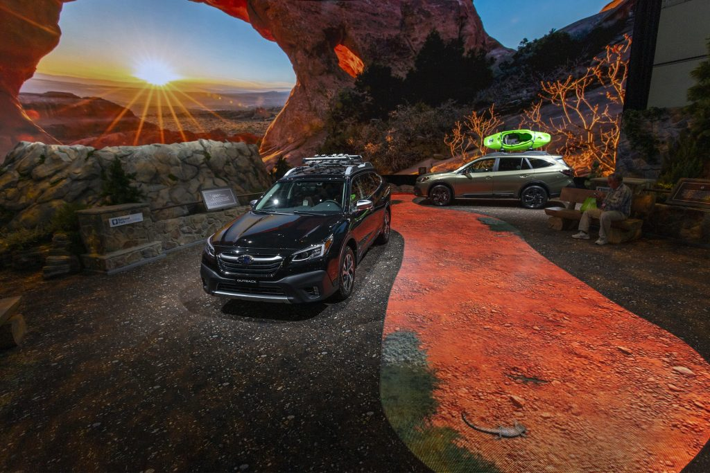 The 2020 Subaru Outback is seen in a U.S. National Park-themed display at AutoMobility LA