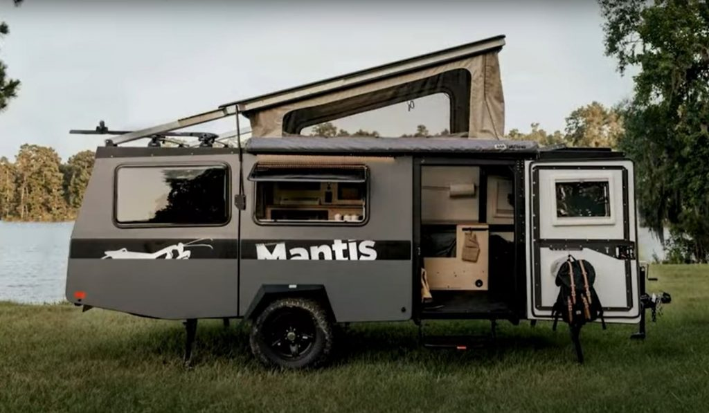 The profile of a 2020 Taxa Outdoors Mantis Pop-up Camper Trailer.