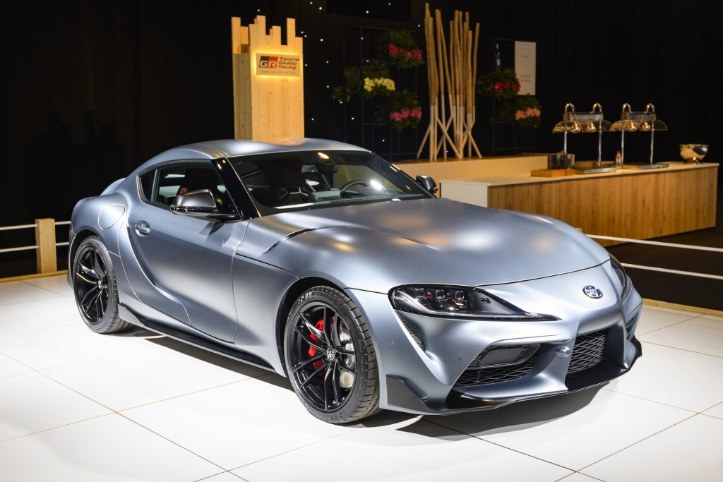 Toyota GR Supra sports car on display at Brussels Expo