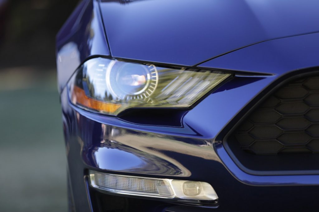 2020 Ford Mustang headlight close detail shot
