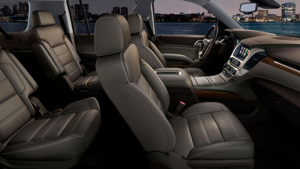 The 2021 Yukon Denali offers leather seats and intricate trimmings.