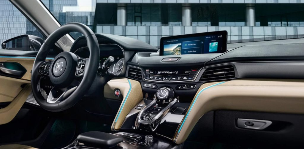 The 2021 Acura TLX Advance's interior with tan-colored leather