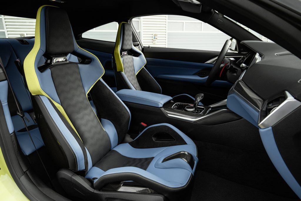 The 2021 BMW M4's optional blue-leather carbon-fiber sport seats