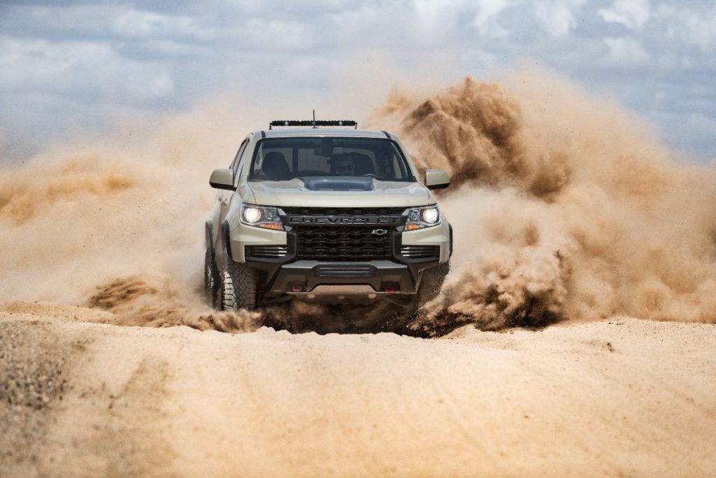 2021 Chevrolet Colorado ZR2 driving through the desert
