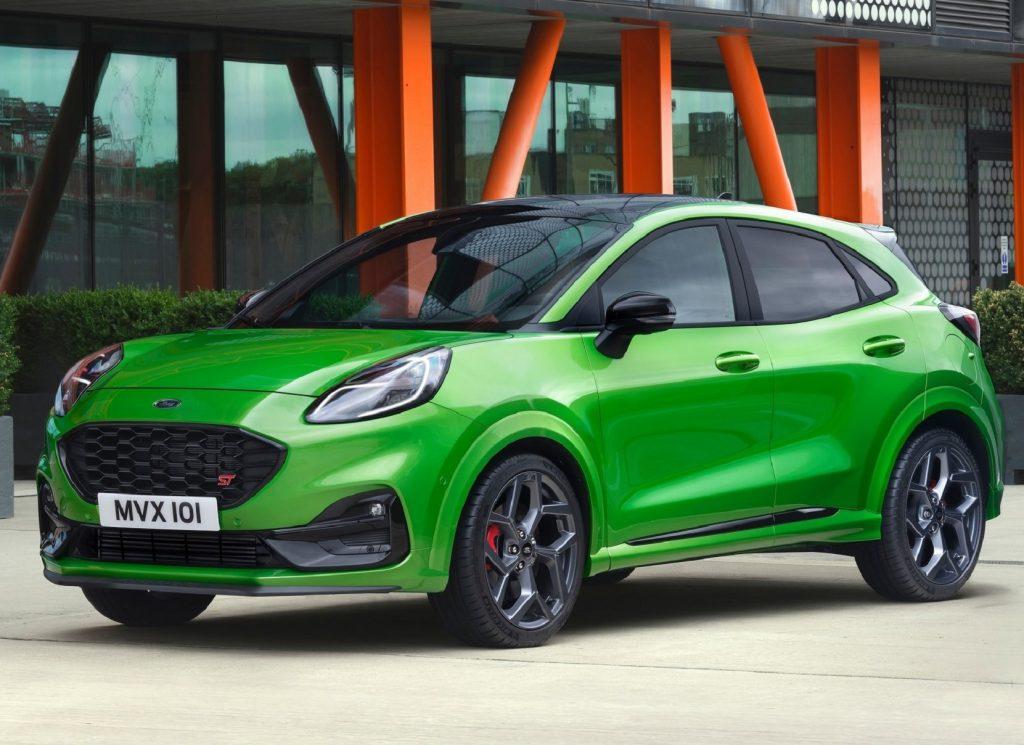 A green 2021 Ford Puma ST
