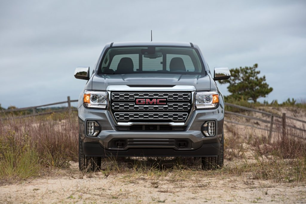 Front view 2021 GMC Canyon compact pickup truck