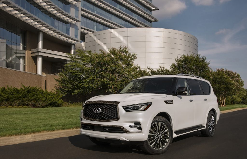 2021 Infiniti QX80 outside of an office building