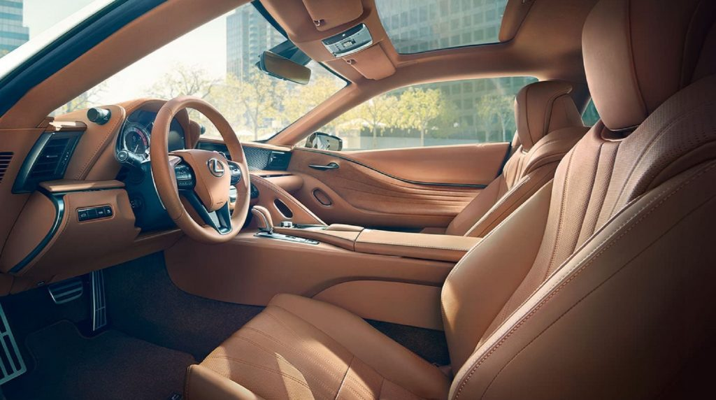 The tan-leather-upholstered 2021 Lexus LC 500 interior