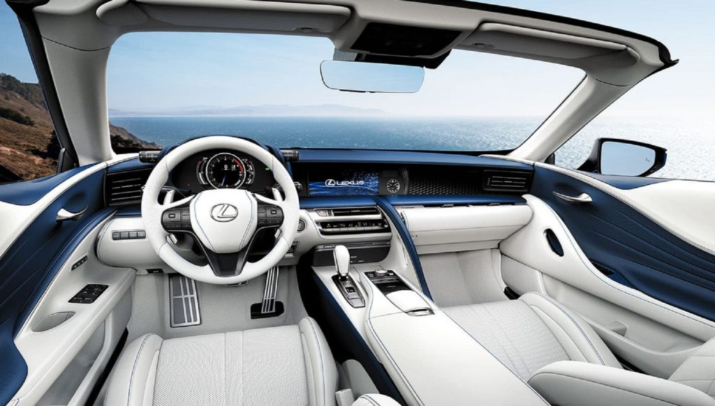 The blue-and-white leather-upholstered interior of the 2021 Lexus LC500 Convertible