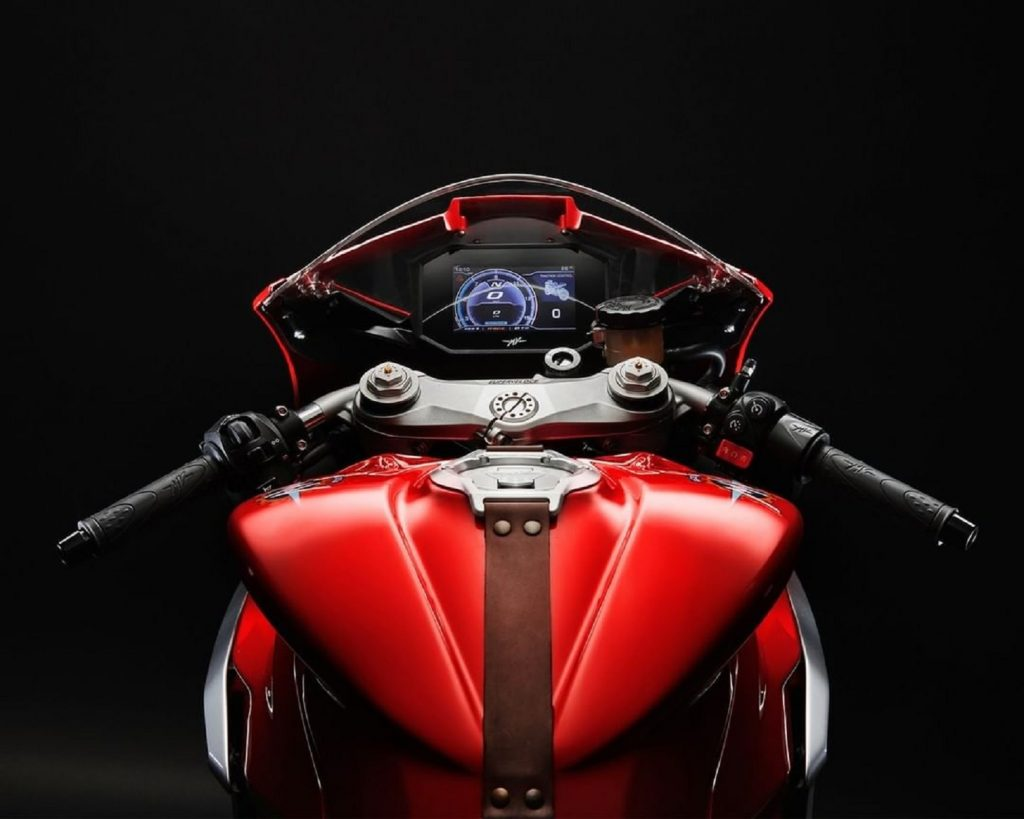 The 2021 MV Agusta Superveloce 800's TFT dash, clip-on bars, and leather tank strap
