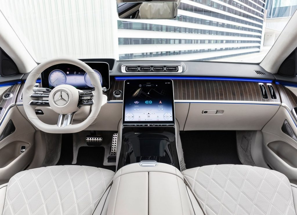 A white-leather 2021 Mercedes-Benz S-Class' luxury car interior