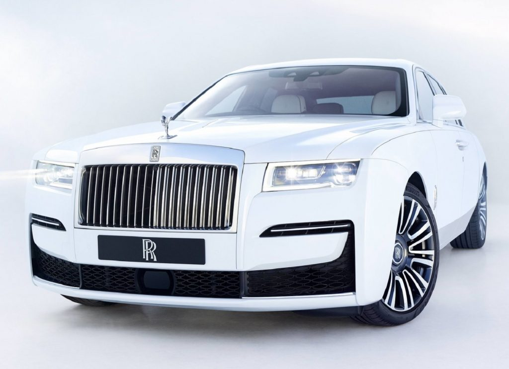 A white 2021 Rolls-Royce Ghost, the luxury brand's entry-level car