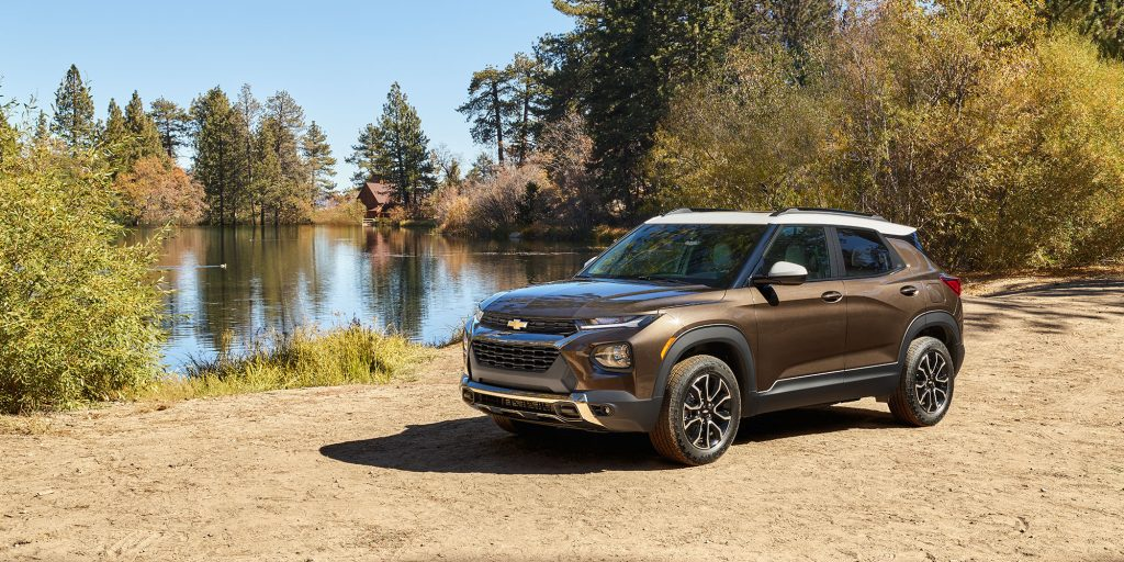 2021 Chevy Trailblazer parked near lake