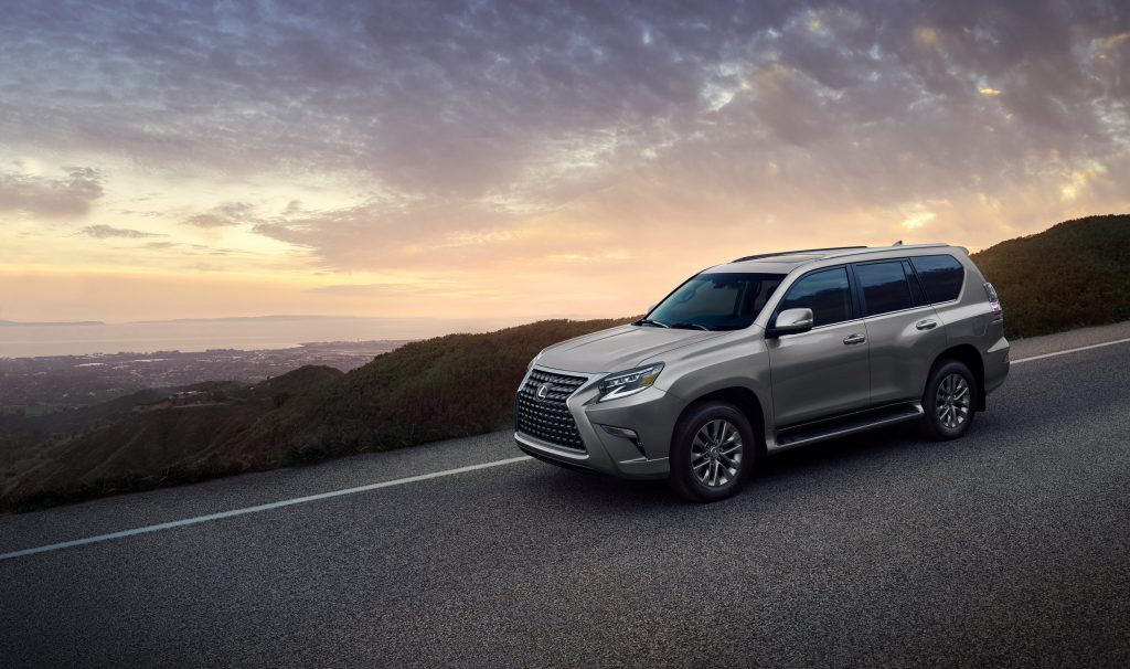 a 2021 lexus gx 460 driving in the mountains