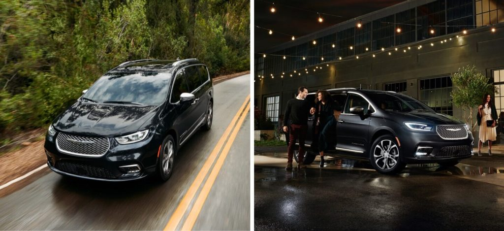 2021 Chrysler Pacifica showing functionality on the road and in the city