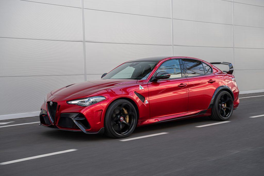 The Alfa Romeo Giulia Quadrifoglio uses a Ferrari-derived V6 and proudces over 505 hp.