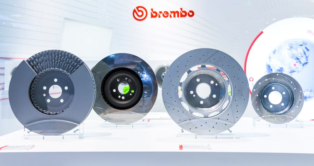Vented, solid, and slotted-drilled Brembo brake rotors