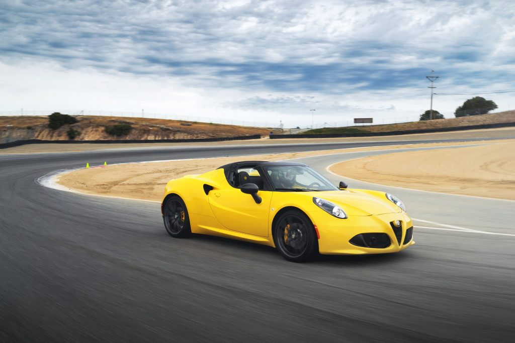 The Alfa Romeo 4C is a mid-engined sports car with a turbocharged engine and a dual-clutch automatic transmission.