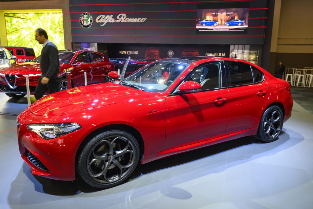 An Alfa Romeo Giulia on display in a showroom