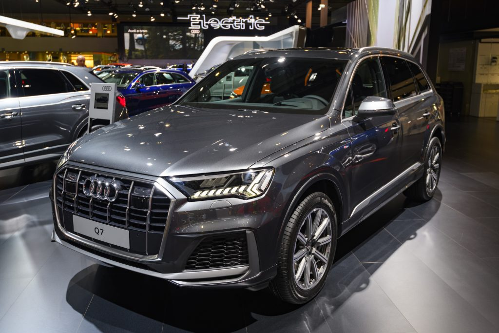 Audi Q7 compact luxury SUV on display at Brussels Expo