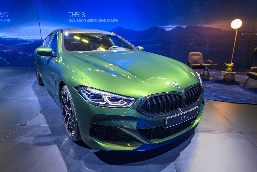 BMW 8 Series M850i xDrive Gran Coupe fastback on display at Brussels Expo