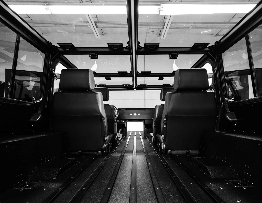 The interior of the Bollinger B1 electric SUV