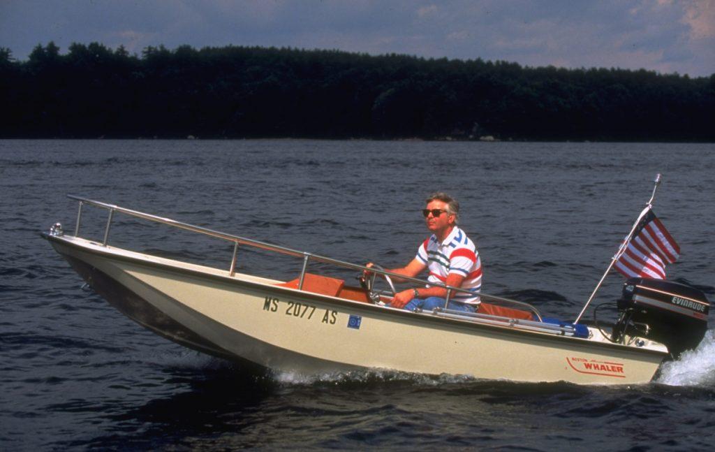 A man riding on his Boston Whaler