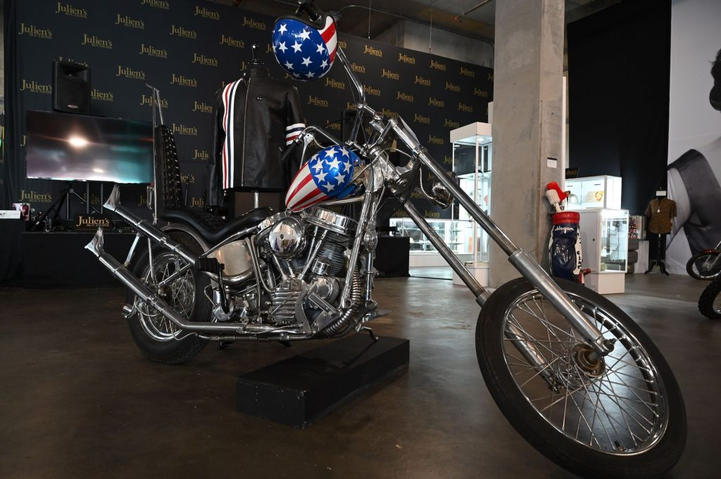 "A custom made chopper motorcycle based on the iconic bike ridden by Peter Fonda in the film 1969 ""Easy Rider"" and used in publicity for the film"