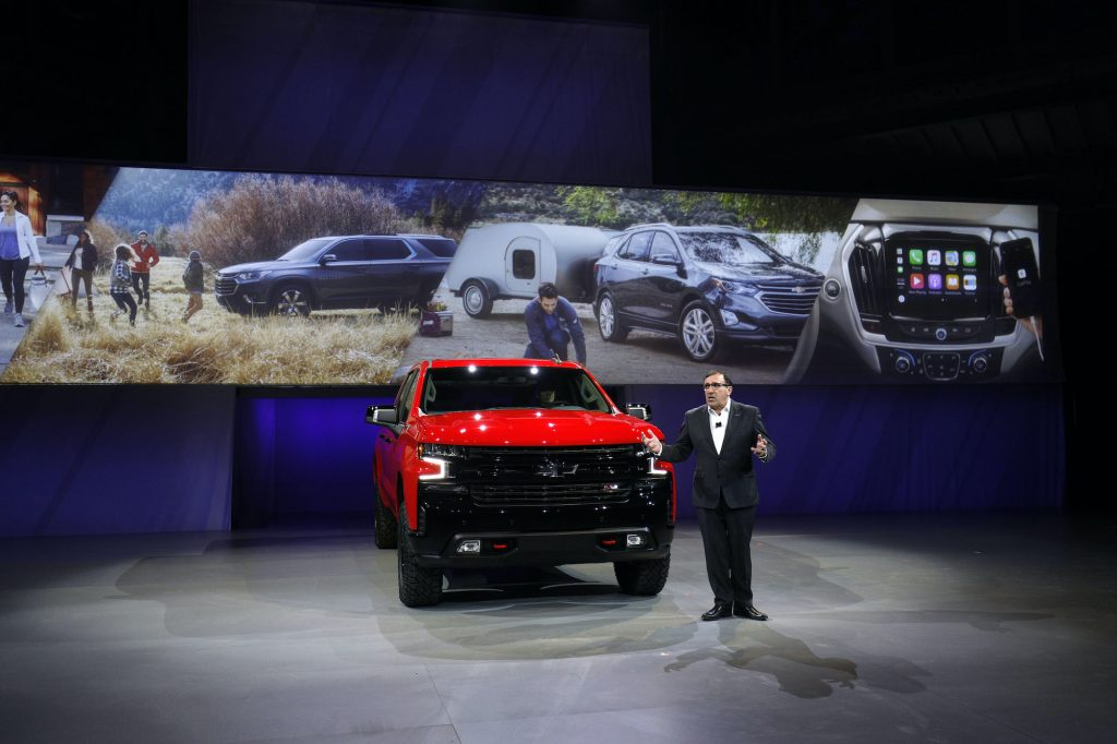 Alan Batey, General Motors Executive Vice President, introduces the new 2019 Chevrolet Silverado 1500 at its official debut at the 2018 North American International Auto Show