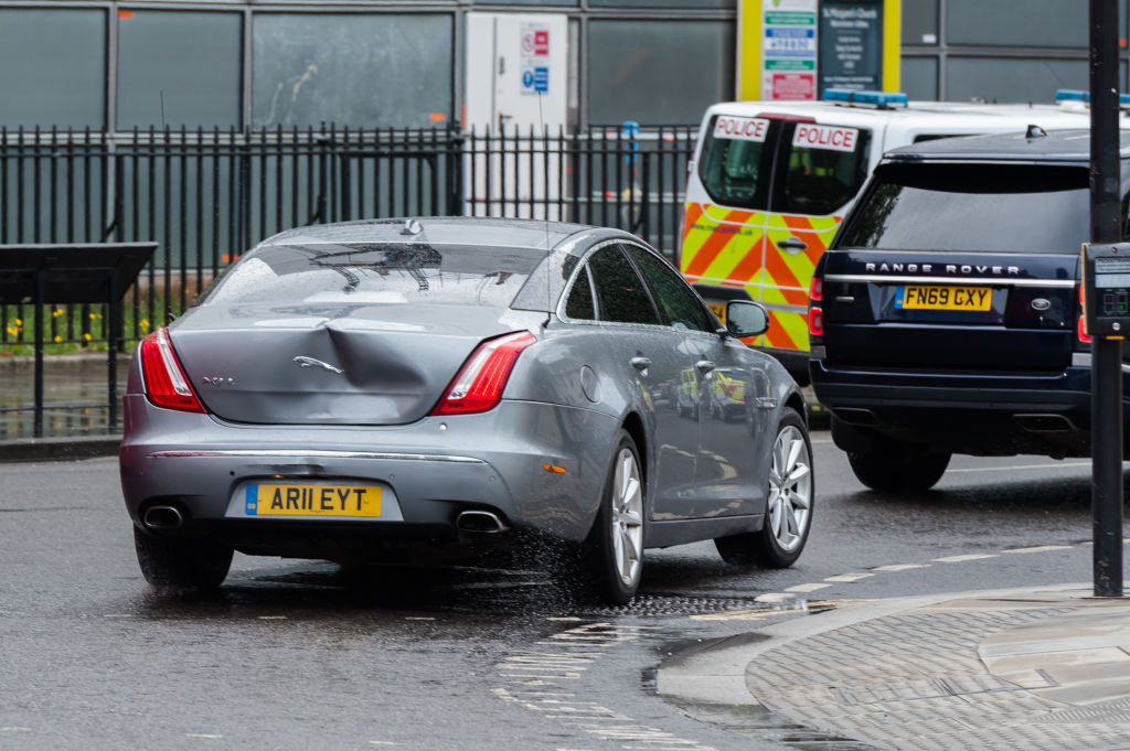 The car normally carrying Britain's Prime Minister Boris Johnson suffered a large dent in the back as a pro-Kurdish protester ran in front of the car as it was leaving the Houses of Parliament after PMQs forcing it to stop and be subsequently struck from behind by the next vehicle in the convoy on 17 June, 2020 in London, England. (Photo by WIktor Szymanowicz/NurPhoto via Getty Images)