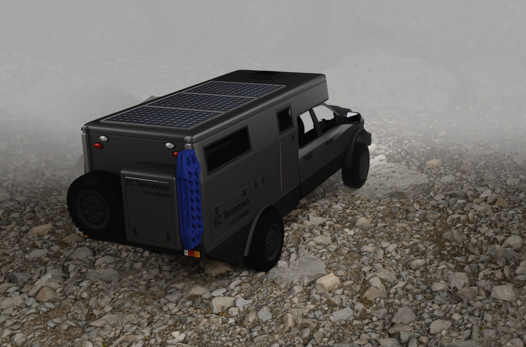 rear view of the EC Terranova truck camper rendering
