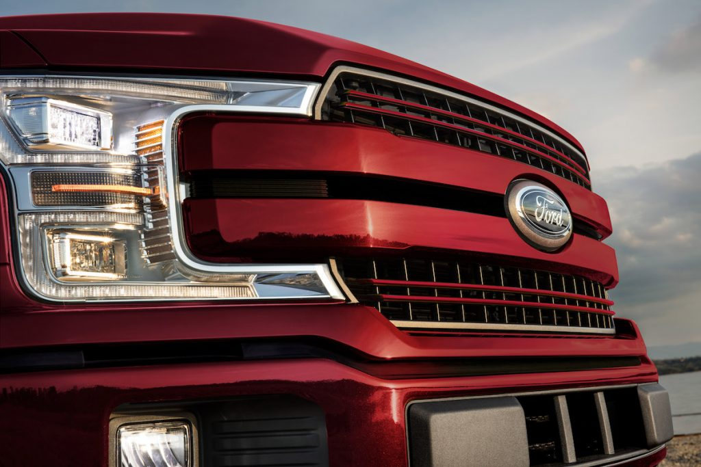 closeup view of a red grille on the 2020 Ford F-150 pickup truck