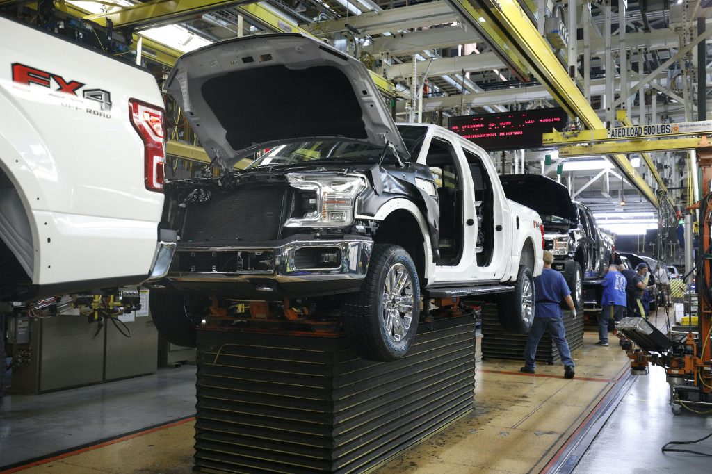 Ford F-150 trucks go through the assembly line at the Ford Dearborn Truck Plant