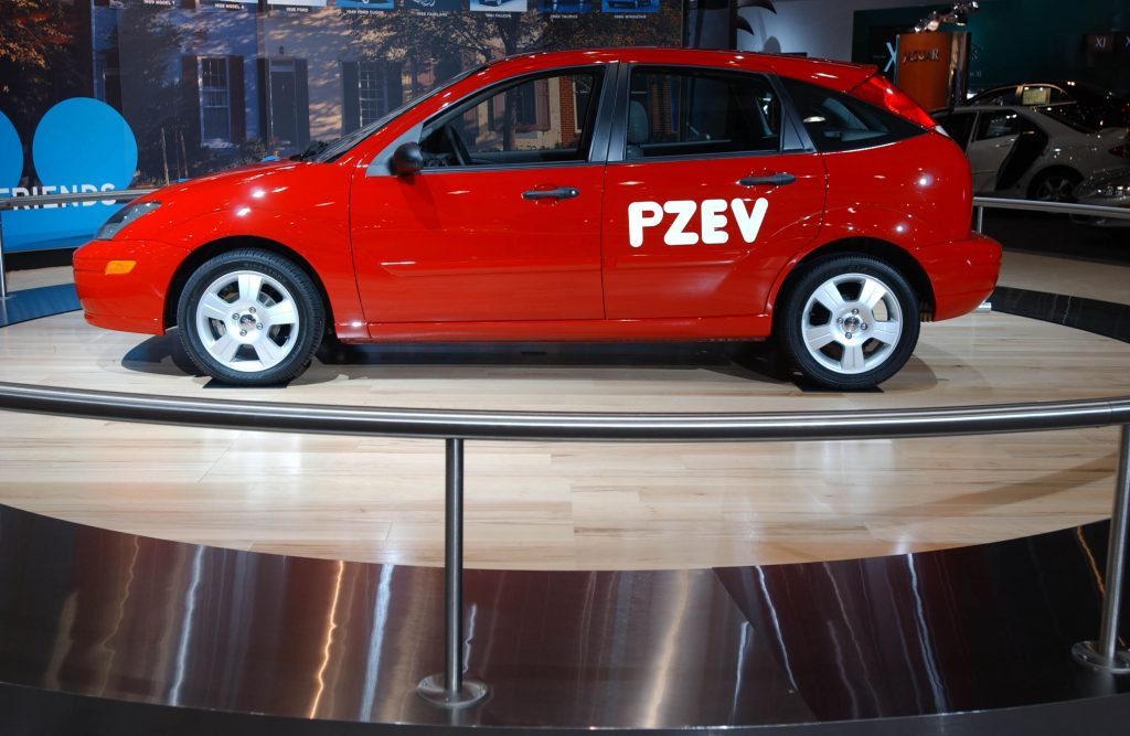 A Ford Focus PZEV on display at an auto show
