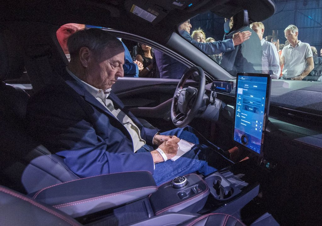 The interior of Ford's first mass-market electric car the Mustang Mach-E, which is an all-electric vehicle that bears the name of the company's iconic muscle car