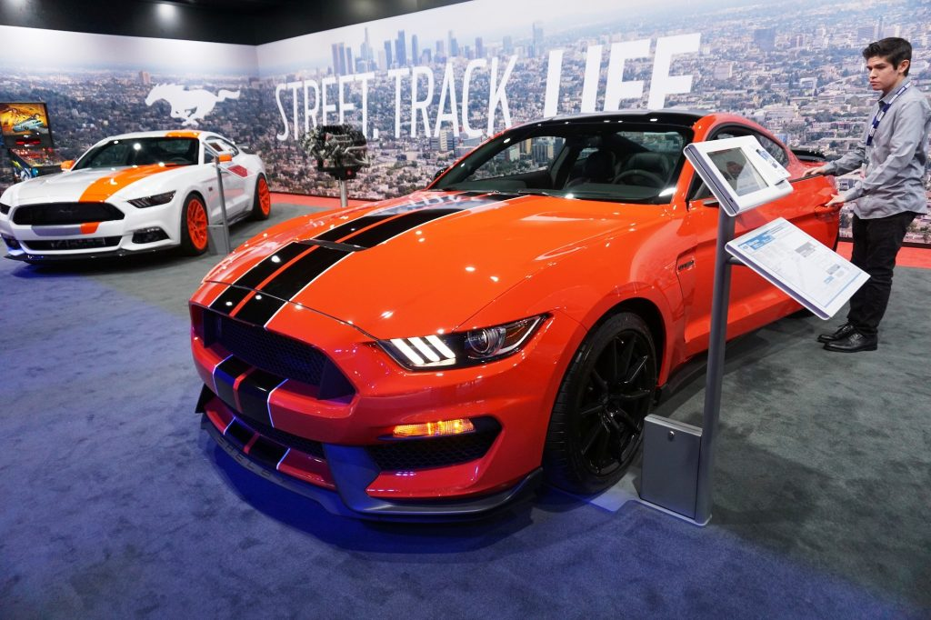 Ford Shelby GT350 Mustang is seen during the official opening ceremony of Los Angeles Auto show