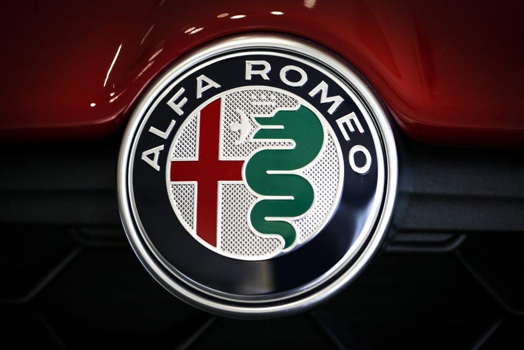 A close up image of the Alfa Romeo logo