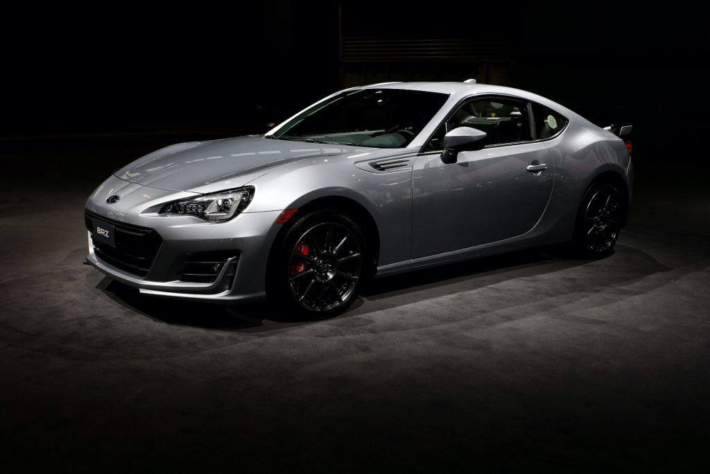 The Subaru BRZ is a lightweight rear-wheel-drive sports car with 205 hp and a manual transmission.