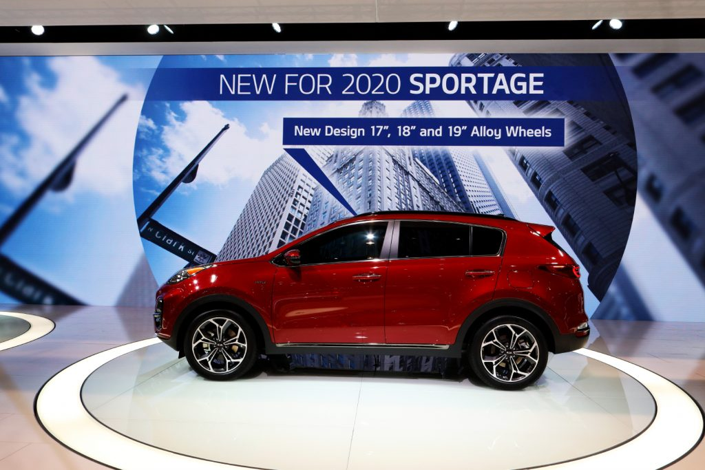 2020 Kia Sportage on display in a showroom