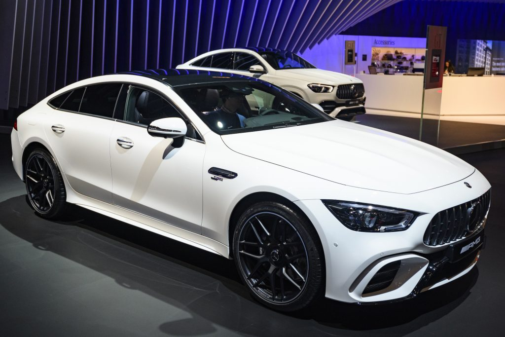 A photo of the Mercedes GT 43, the entry-level of the range-topping GT four-door model.